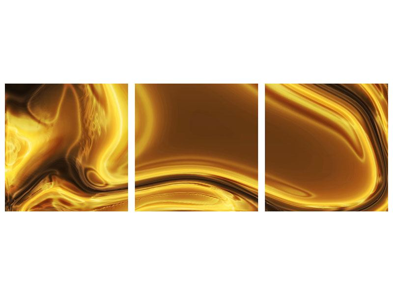 Panoramic 3 Piece Acrylic Print Abstract Liquid Gold