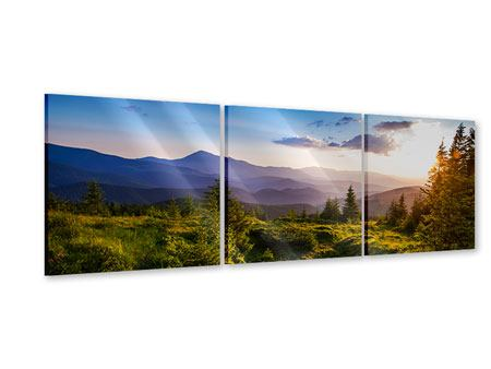 Panoramic 3 Piece Acrylic Print Peaceful Landscape