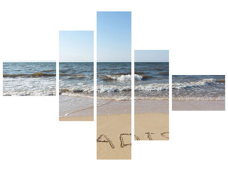 Modern 5 Piece Acrylic Print Tracks In The Sand