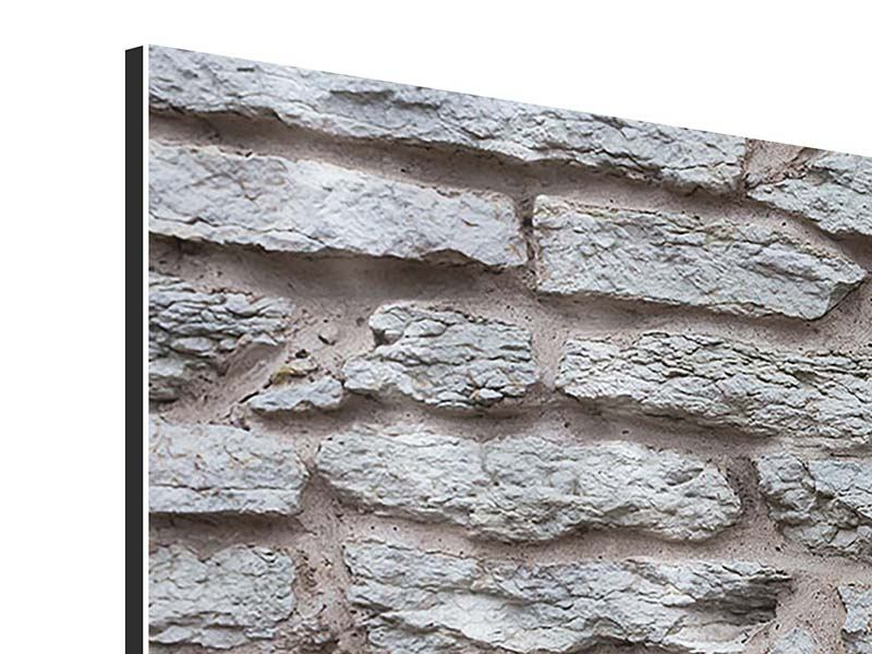 Panoramic 3 Piece Aluminium Print Stone Wall