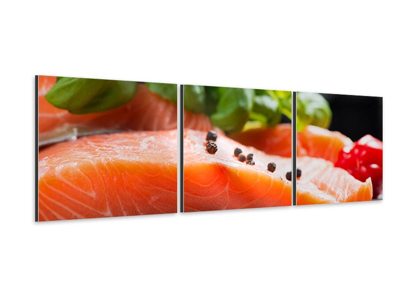 Panoramic 3 Piece Aluminium Print Fresh Salmon