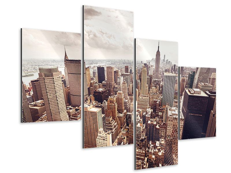 Modern 4 Piece Aluminium Print Skyline Over The Roofs Of Manhattan