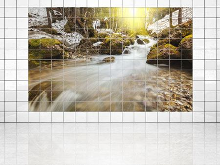Tile Print Cascading Waterfall
