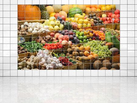 Tile Print Fruit Market