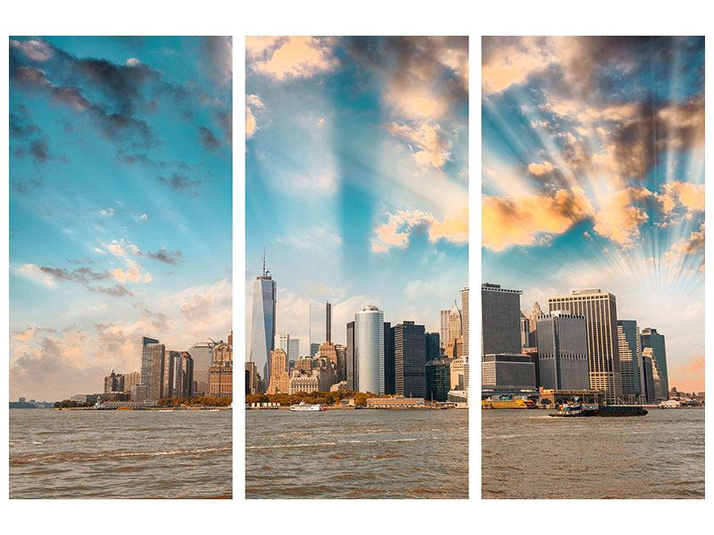 Hartschaumbild 3-teilig Skyline New York from the other Side