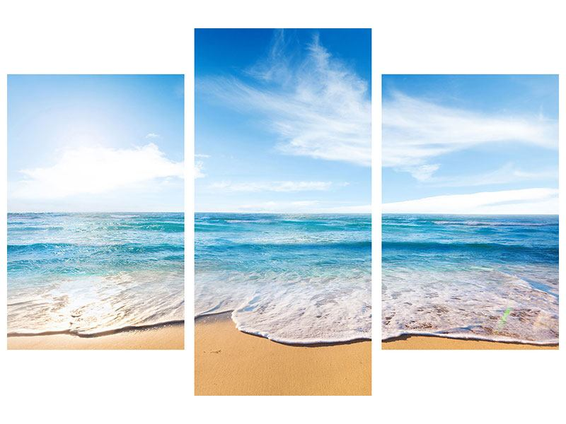 Modern 3 Piece Forex Print Waves In The Sand