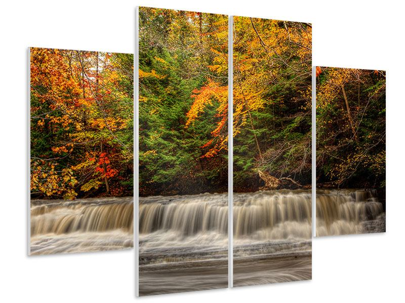 4 Piece Forex Print Autumn At The Waterfall