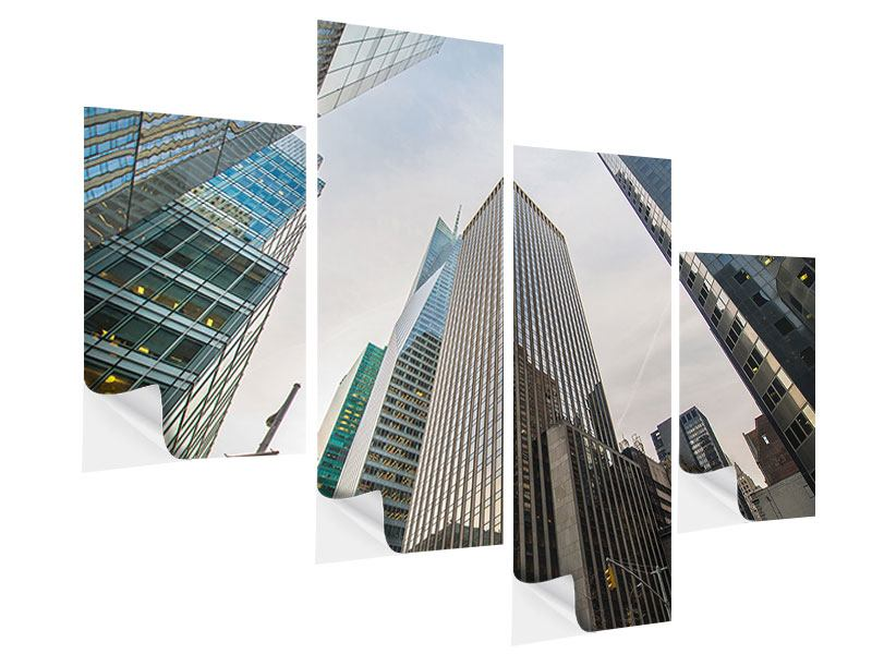 Modern 4 Piece Self-Adhesive Poster Skyscrapers