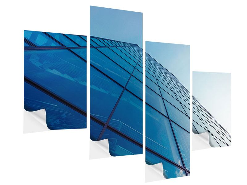 Modern 4 Piece Self-Adhesive Poster Skyscraper Highlight