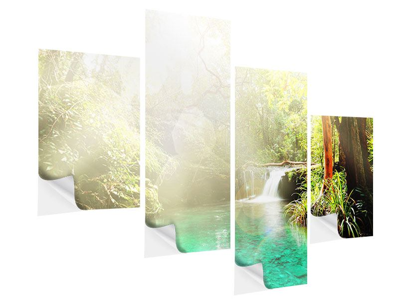 Modern 4 Piece Self-Adhesive Poster The Green Lagoon