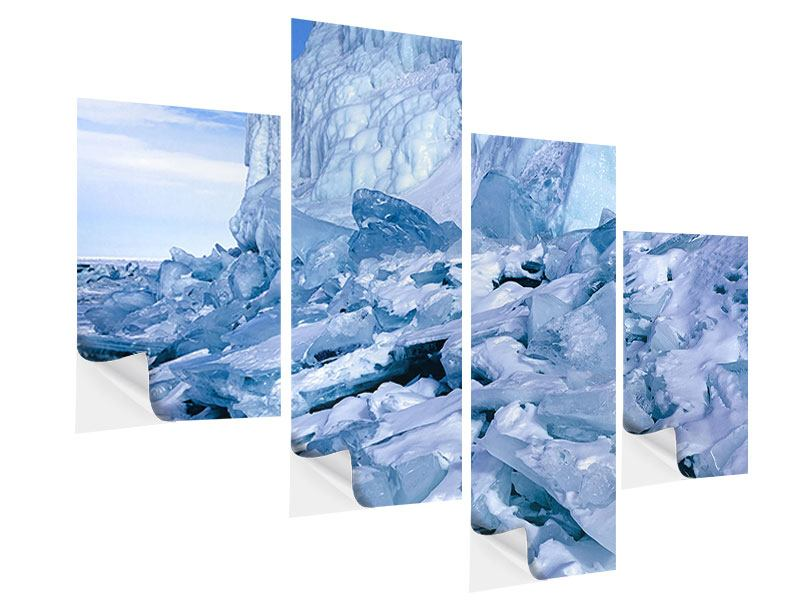 Modern 4 Piece Self-Adhesive Poster Ice Landscape Baikal