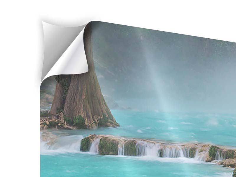 Modern 4 Piece Self-Adhesive Poster House At Waterfall