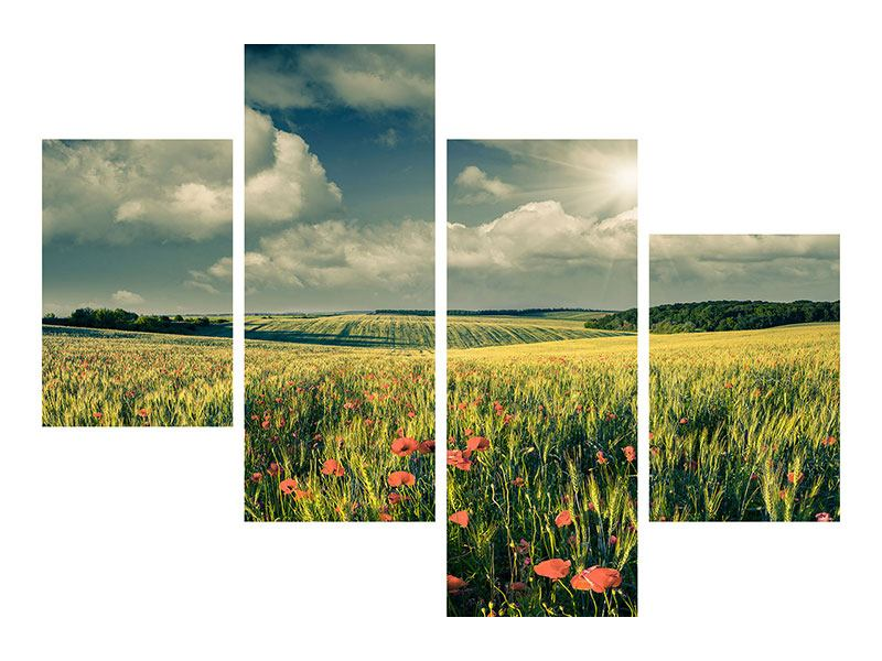 Modern 4 Piece Self-Adhesive Poster The Poppy In Wheat Field