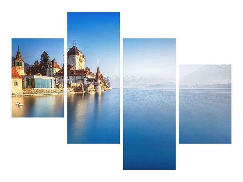 Modern 4 Piece Self-Adhesive Poster Castle Oberhofen Thunersee