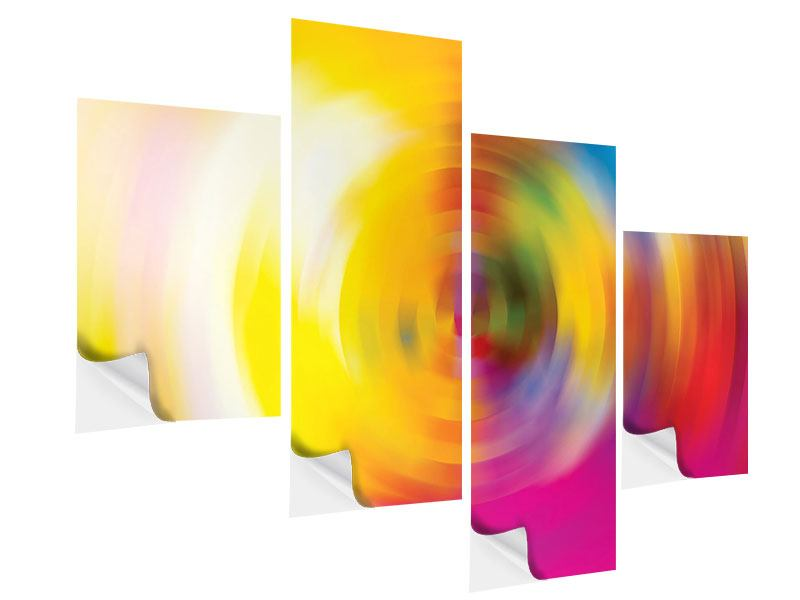 Modern 4 Piece Self-Adhesive Poster Abstract Color Circles