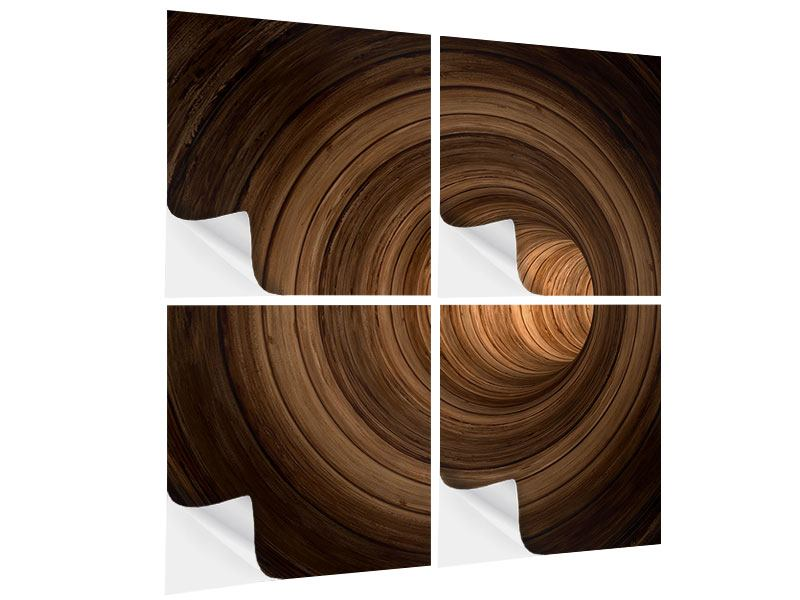 4 Piece Self-Adhesive Poster Abstract Tunnel