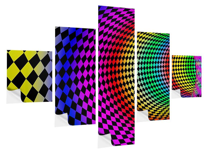 5 Piece Self-Adhesive Poster Abstract Retro Tunnel