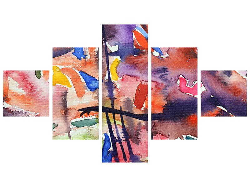 5 Piece Self-Adhesive Poster Watercolor