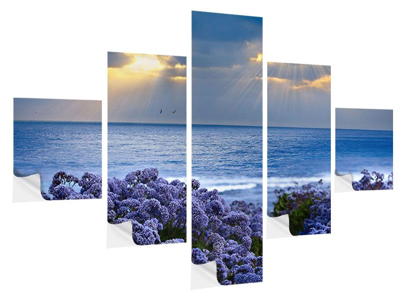 5 Piece Self-Adhesive Poster Lavender And Sea