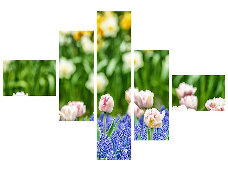 Modern 5 Piece Self-Adhesive Poster A Garden With Tulips