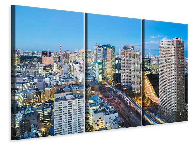 3 Piece Canvas Print Skyline Tokyo In Sea Of Light