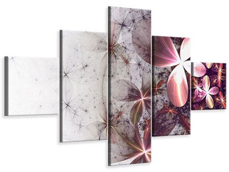 5 Piece Canvas Print Abstract Floral