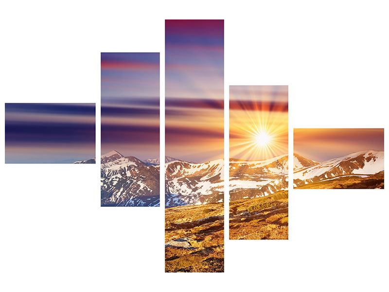 Modern 5 Piece Canvas Print Majestic Sunset At The Mountain
