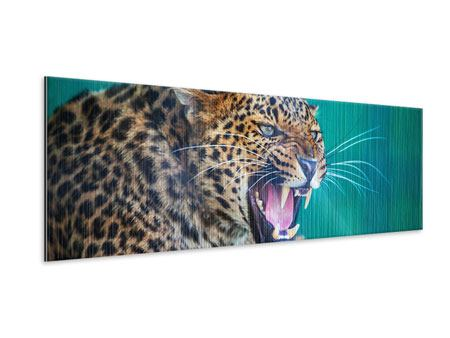 Panoramic Metallic Print Attention Leopard