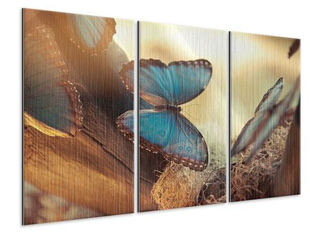 3 Piece Metallic Print Butterflies