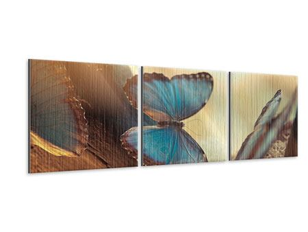 Panoramic 3 Piece Metallic Print Butterflies