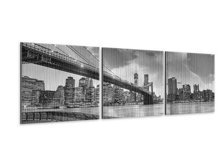 Panoramic 3 Piece Metallic Print Skyline Black And White Photography Brooklyn Bridge NY