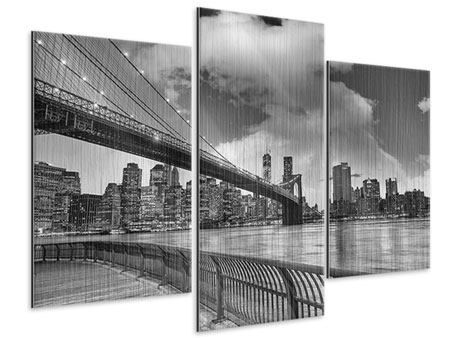 Modern 3 Piece Metallic Print Skyline Black And White Photography Brooklyn Bridge NY