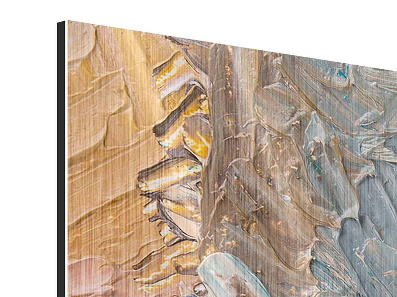 Modern 4 Piece Metallic Print Oil Painting