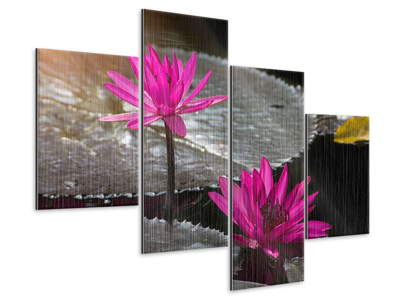 Modern 4 Piece Metallic Print Water Lily In The Morning Dew