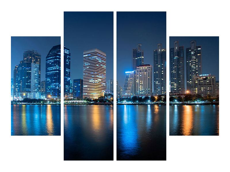 4 Piece Metallic Print Skyline Bangkok By Night