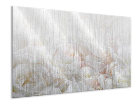 Metallic Print White Roses In The Morning Dew