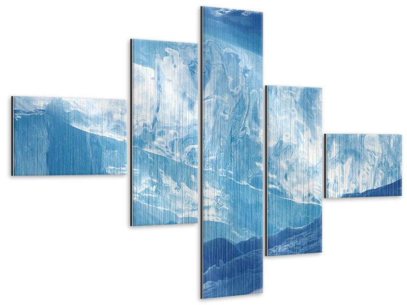 Modern 5 Piece Metallic Print Baikal Ice