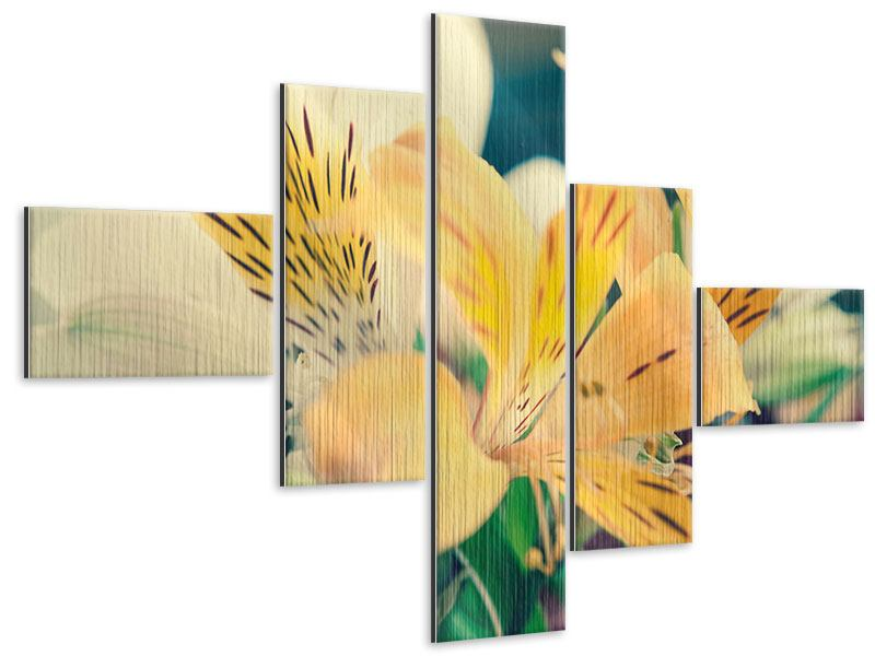 Modern 5 Piece Metallic Print Tiger Lily