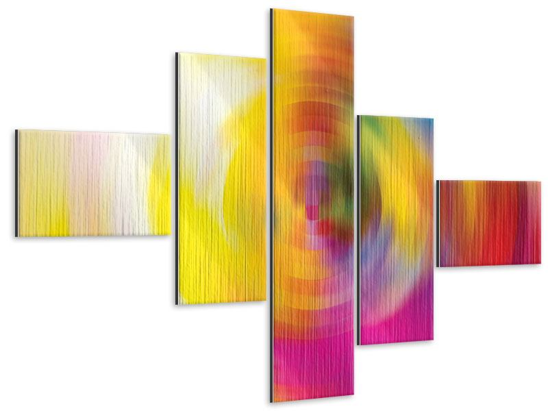 Modern 5 Piece Metallic Print Abstract Color Circles
