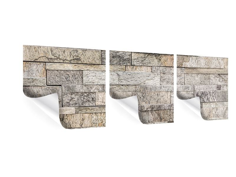 Panoramic 3 Piece Poster Elegant Stone Wall