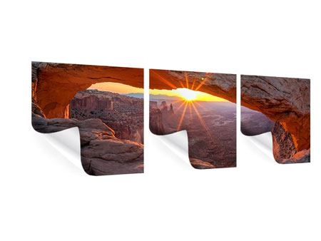 Panoramic 3 Piece Poster Sunset At Mesa Arch