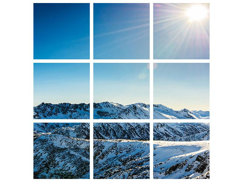 9 Piece Poster Mountains In Snow