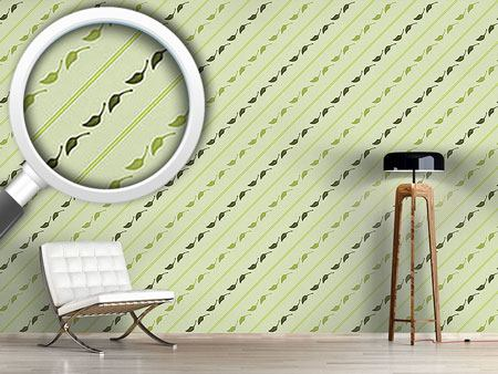 Design Wallpaper Leaves And Stripes